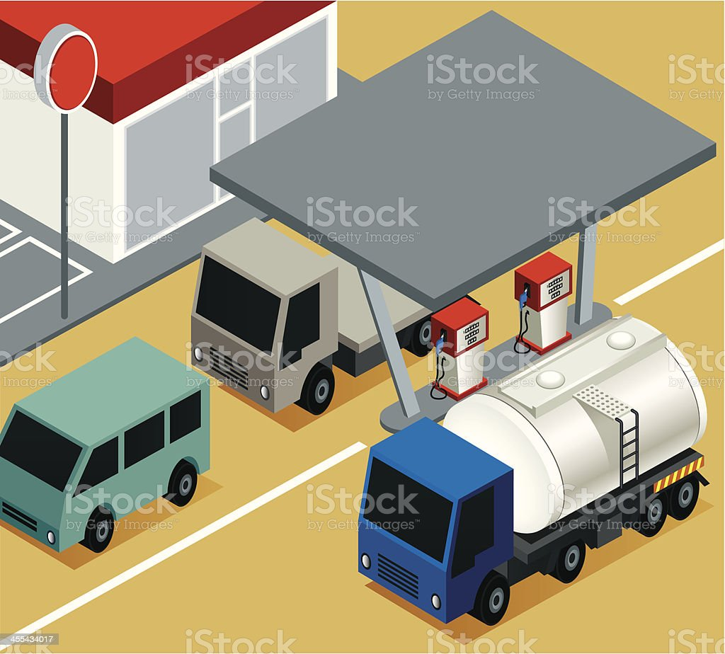 Gas Station with tanker royalty-free stock vector art