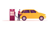 istock Gas Station Worker Character Pouring Fuel in Car with Filling Gun. Employee at Petroleum Station or Auto Owner Refueling Automobile, Transport Gasoline Service for Drivers. Cartoon Vector Illustration 1226749904