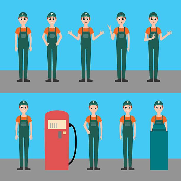 gas station worker vector set illustration vector art illustration