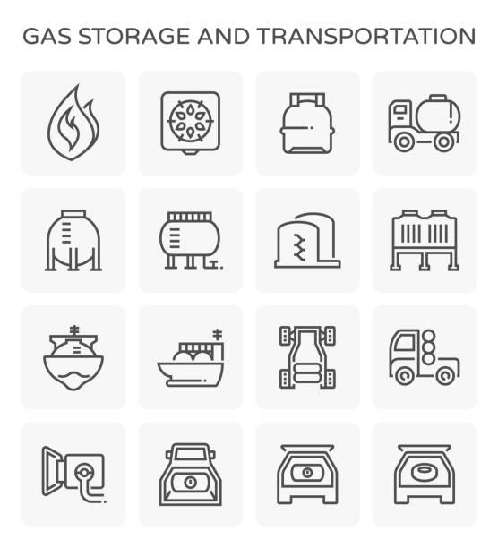 ilustraciones, imágenes clip art, dibujos animados e iconos de stock de icono de almacenamiento de gas - gas