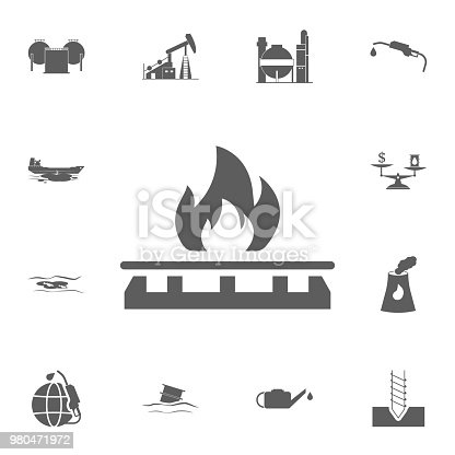 gas stove icon. Detailed set of Oil icons. Premium quality graphic design sign. One of the collection icons for websites, web design, mobile app on white background