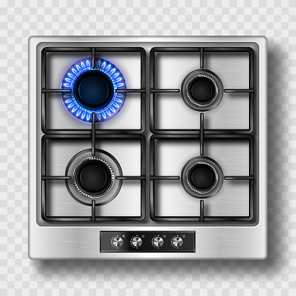 Gas stove top view with blue flame and steel grate