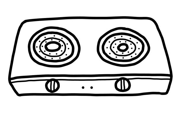 Royalty Free Vector Black And White Ovens With Fire Clip