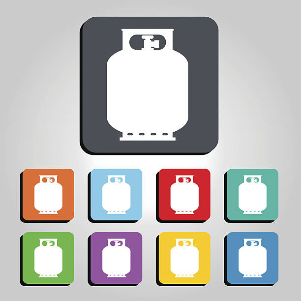 gas tank bottle vector icon illustration - sicherheitsventil stock-grafiken, -clipart, -cartoons und -symbole