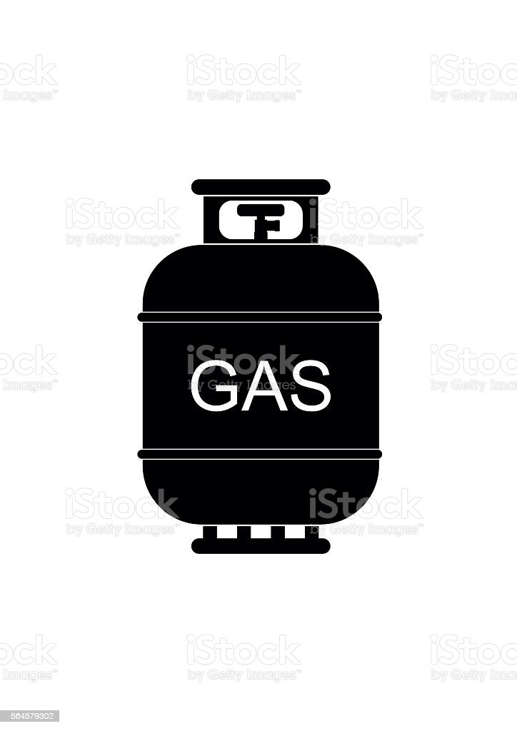 Gas tank icon. Propane cylinder pressure fuel lpd vector art illustration