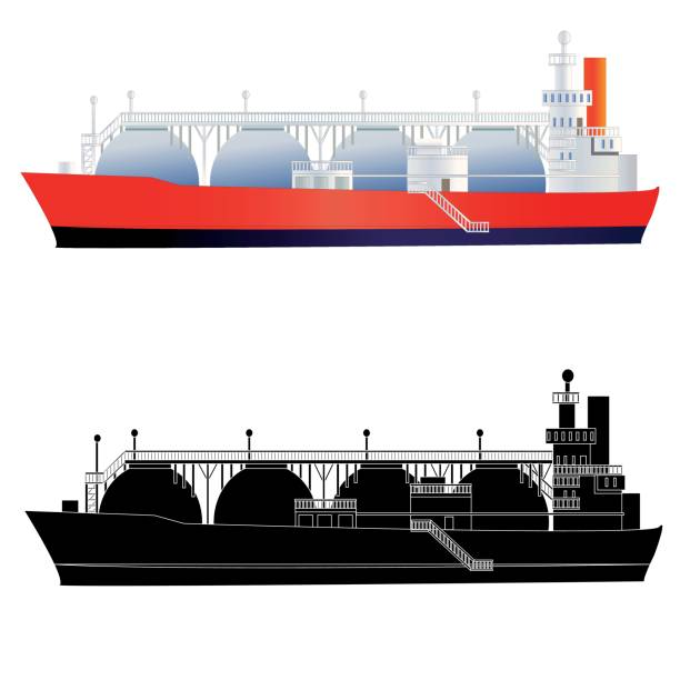 LNG gas tanker with silhouette. Isolated vector art illustration