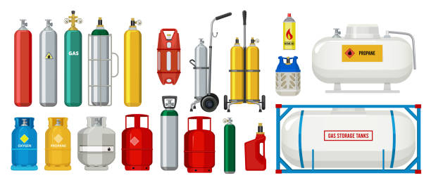 Gas tanks. Compressed oxygen propane dangerous cylinder tanks vector cartoon collection Gas tanks. Compressed oxygen propane dangerous cylinder tanks vector cartoon collection. Propane in cylinder, compressed gas illustration cylinder stock illustrations