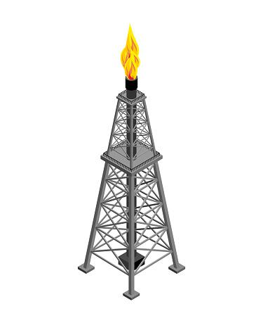 Gas Toren Isometrisch Industriële Object Vectorillustratie Stockvectorkunst en meer beelden van Achtergrond - Thema