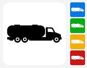 Gas Truck Icon Flat Graphic Design