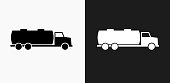 Gas Truck Icon on Black and White Vector Backgrounds