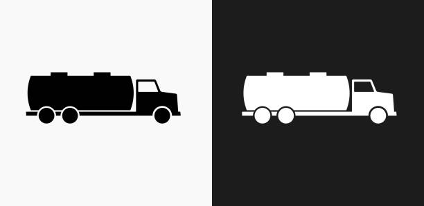Gas Truck Icon on Black and White Vector Backgrounds vector art illustration