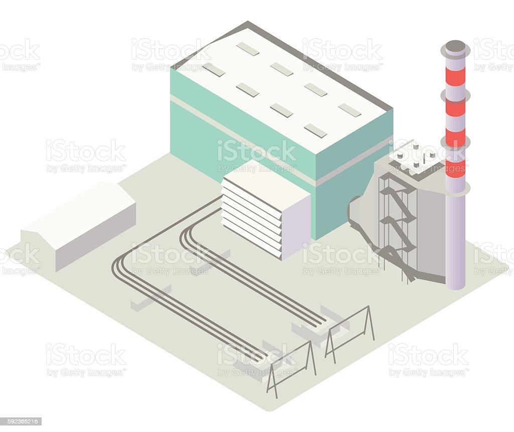 Gas turbine power plant illustration vector art illustration