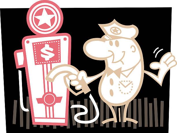 gasoline pump attendant - peter bajohr stock illustrations