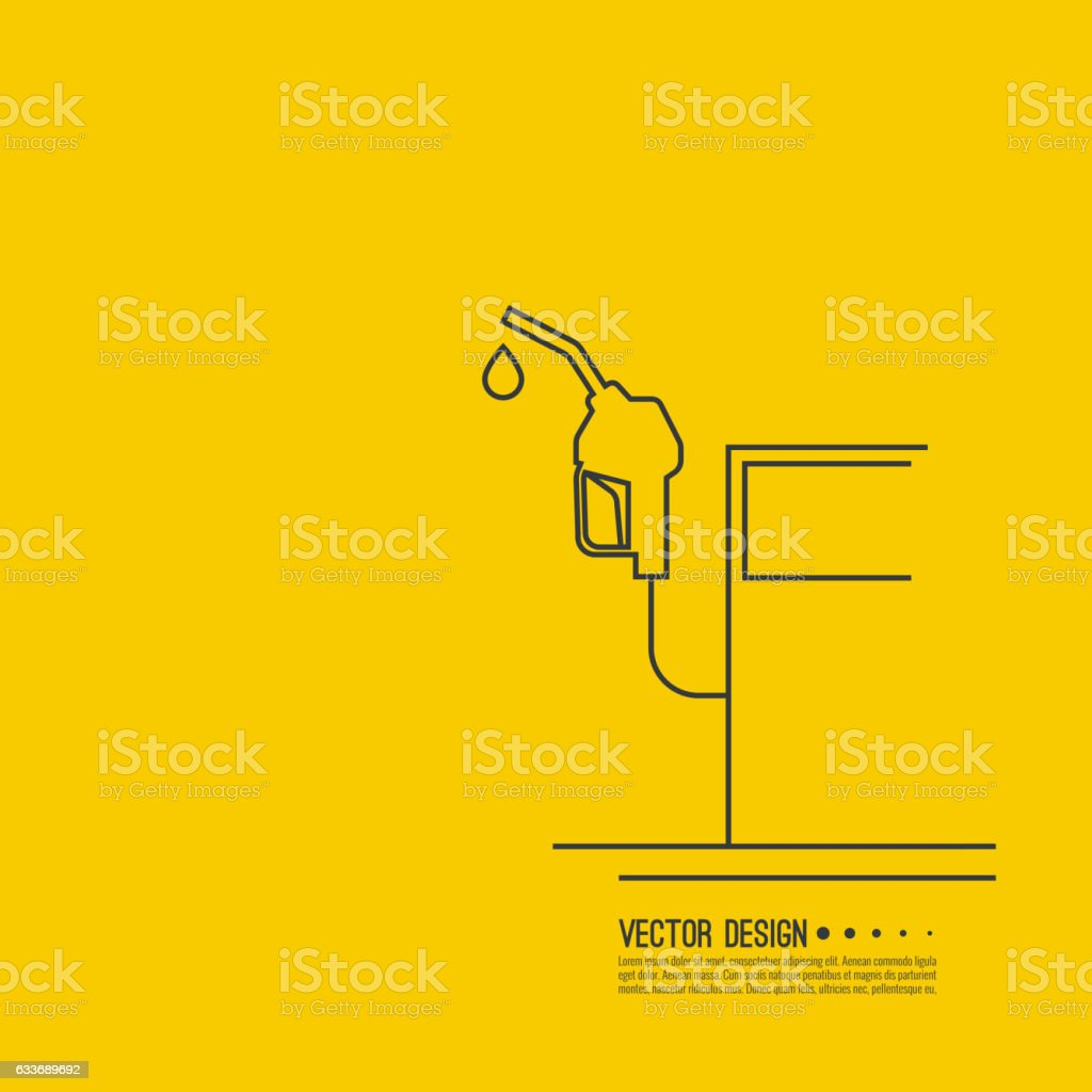 Gasoline pump nozzle sign. vector art illustration