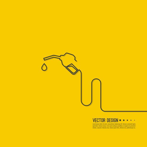 illustrazioni stock, clip art, cartoni animati e icone di tendenza di gasoline pump nozzle sign. - combustibile fossile