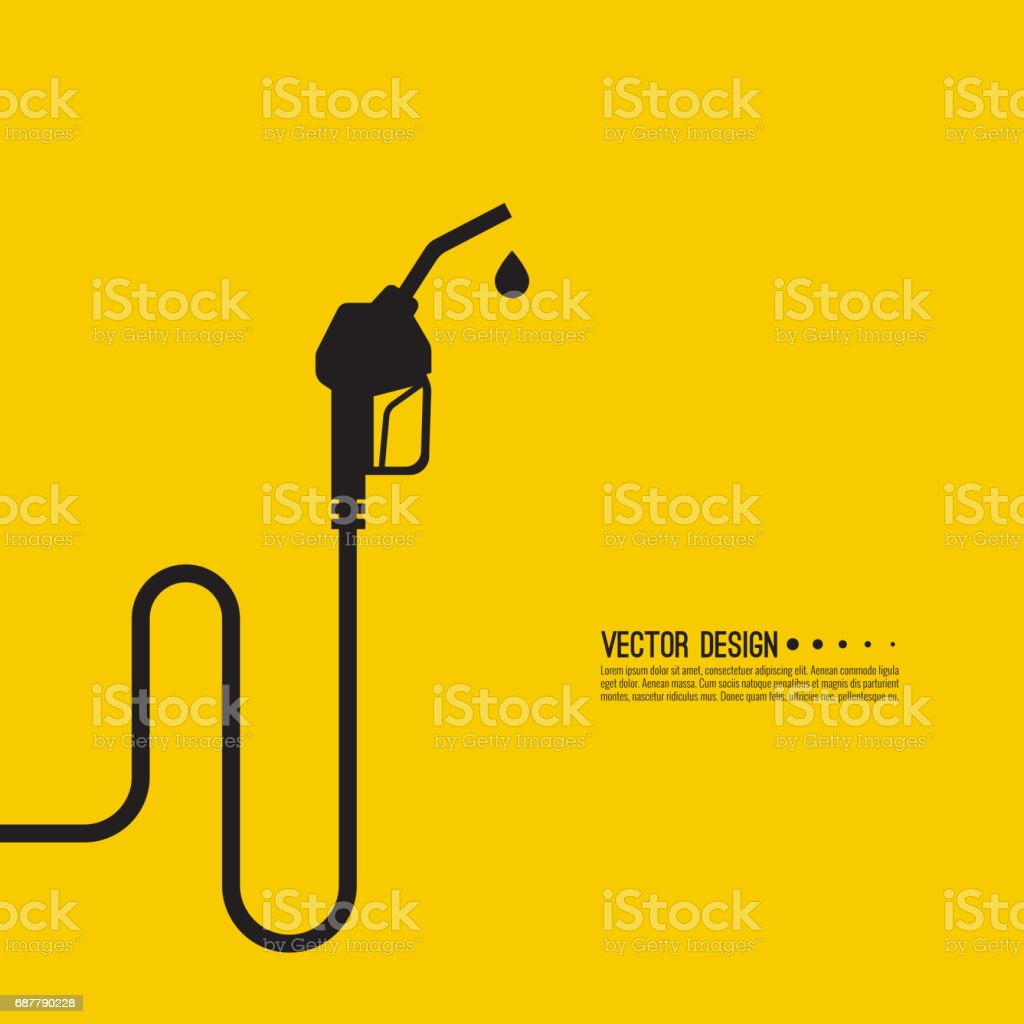 Gasoline pump nozzle sign. vector art illustration