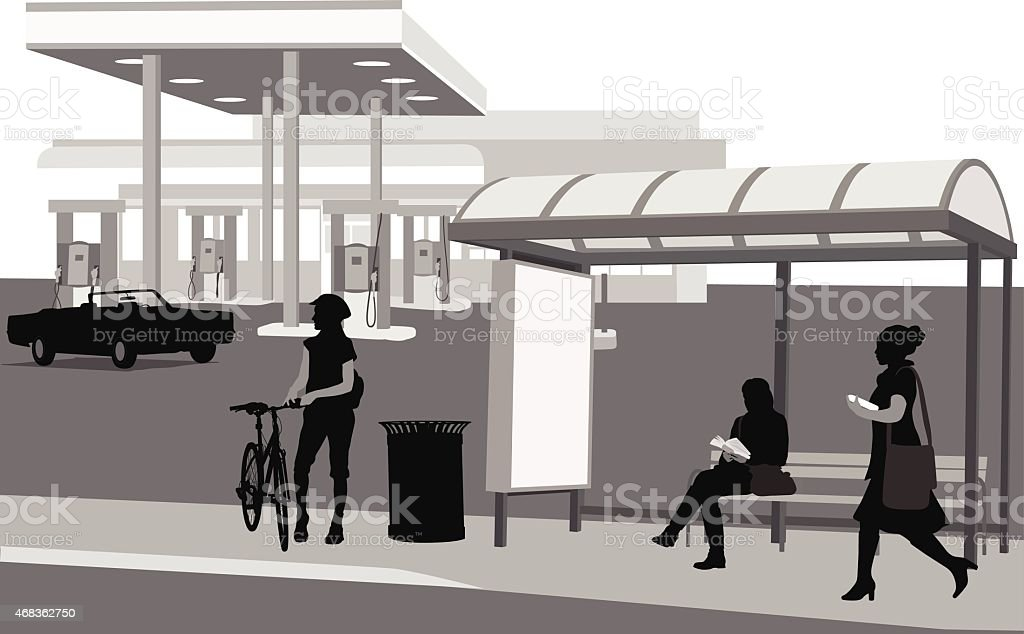 GasStationBusStop royalty-free gasstationbusstop stock vector art & more images of 2015