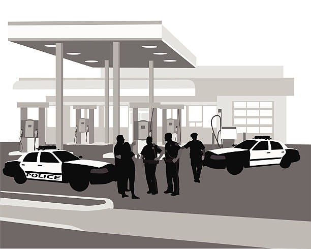 GasStationPolice Police investigate an incident at a gas station.  Police men interview witnesses, another walks to his police cruiser. police interview stock illustrations
