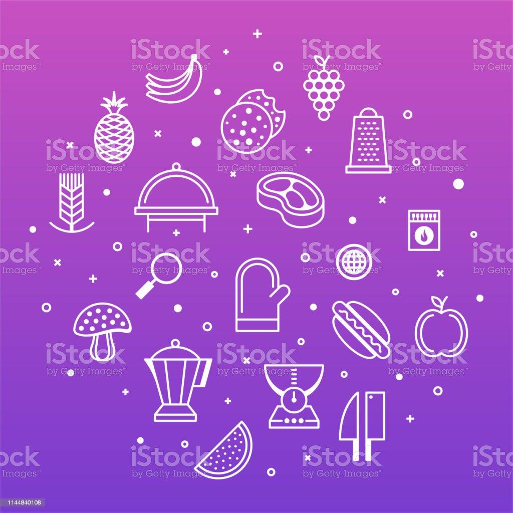 Gastro travel, food and drink taste outline style symbols on modern...