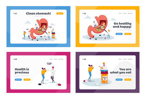 Gastroenterology Landing Page Template Set. Patient Character Suffer of Stomachache and Helicobacter Disease, Doctor Appointment. Medic Study Huge Stomach or Belly . Cartoon People Vector Illustration