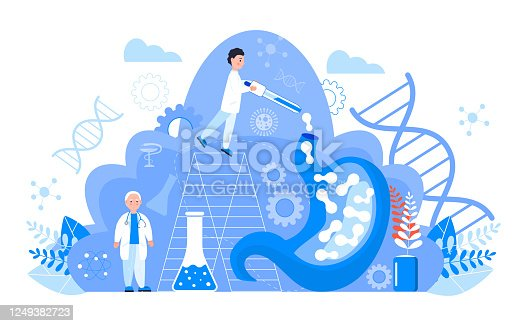 Gastroenterology concept vector. Stomach doctors examine, treat dysbiosis. Tiny gastroenterologist looks through a magnifying glass at harmful bacteria. Gastritis, stomach ulcer illustration