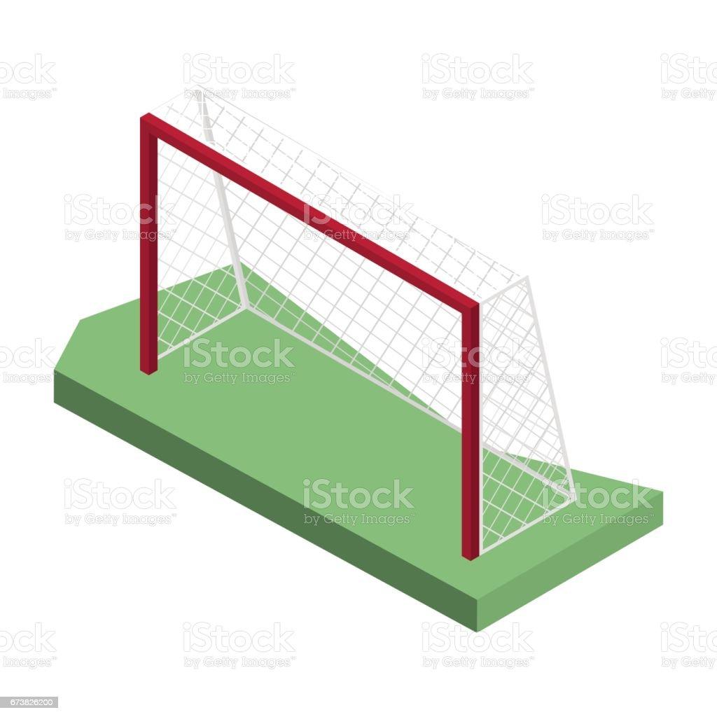 Porte pour jouer au soccer en isométrique, illustration vectorielle. porte pour jouer au soccer en isométrique illustration vectorielle – cliparts vectoriels et plus d'images de aire de jeux libre de droits