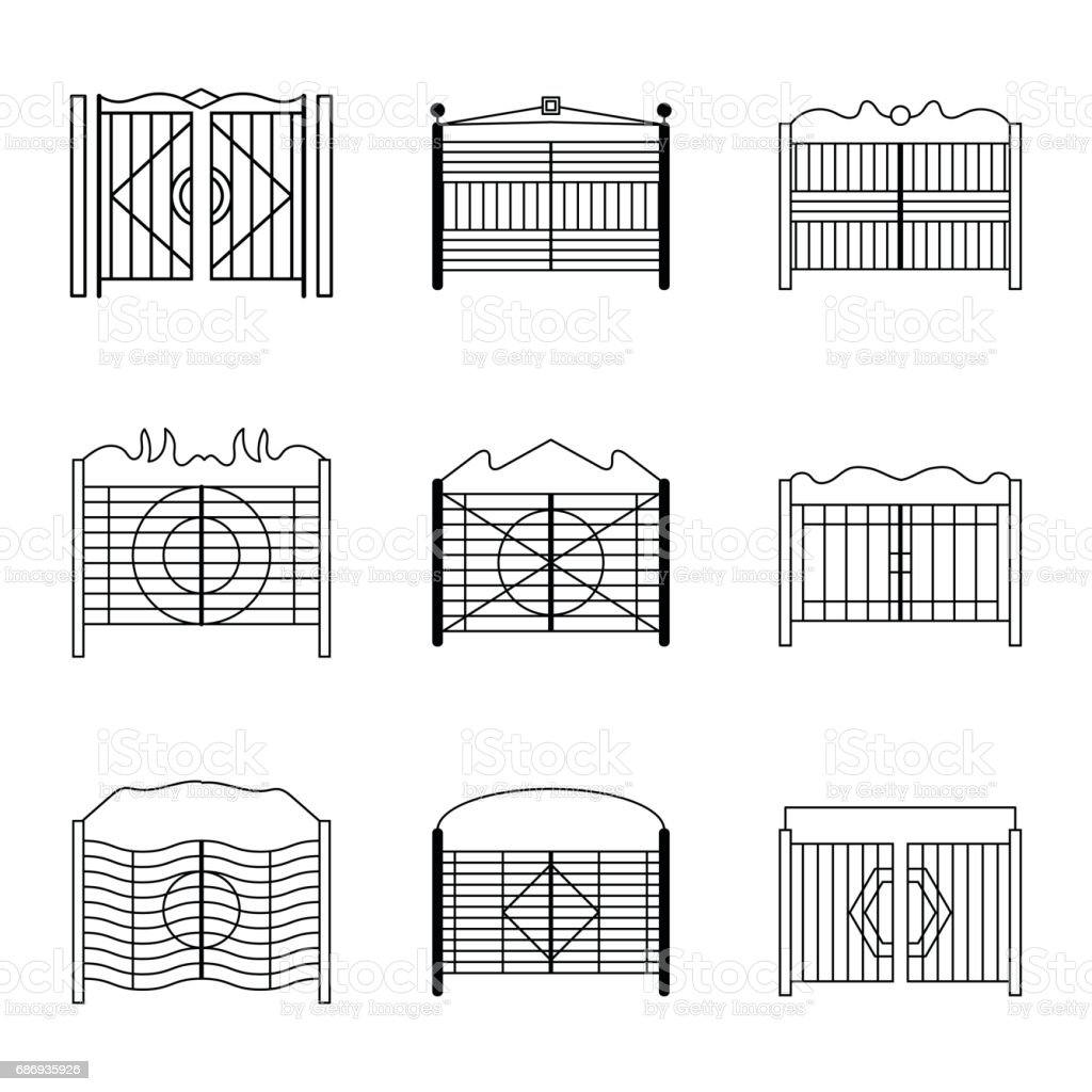 gate icons set vector art illustration