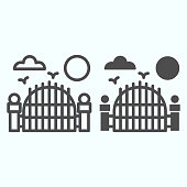 Gate line and solid icon. Scary landscape with birds and cloud, night of full moon. Halloween vector design concept, outline style pictogram on white background, use for web and app. Eps 10