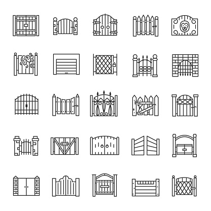 Gate, icon set. Gateway made of wood, iron, stone, brick. big and small. for urban facades, castles, building. linear icons. Line with editable stroke