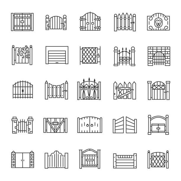 bildbanksillustrationer, clip art samt tecknat material och ikoner med gate, linjär ikonuppsättning. gateway av trä, järn, sten, tegel. stora och små. för stadsfasader, slott, byggnad. linje med redigerbar linje - grind