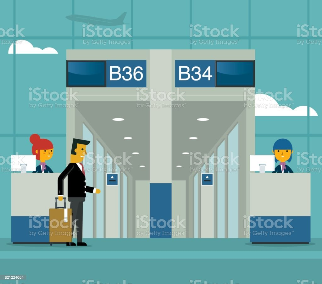 Gate on airport vector art illustration