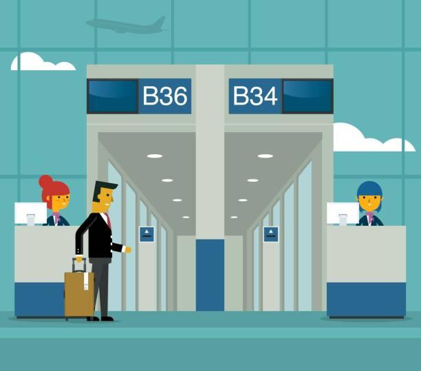 Gate On Airport Vector Art Illustration