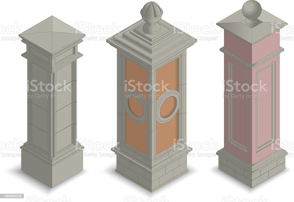 Gate pillars isometric royalty-free stock vector art