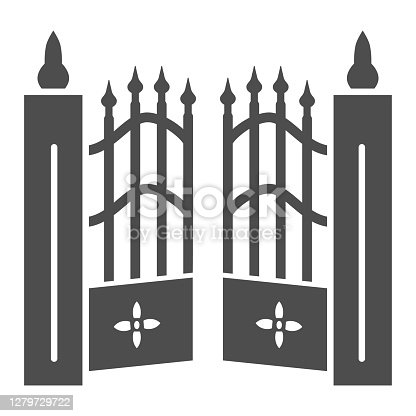 Gate to cemetery solid icon, Halloween concept, cemetery sign on white background, graveyard fence icon in glyph style for mobile concept and web design. Vector graphics