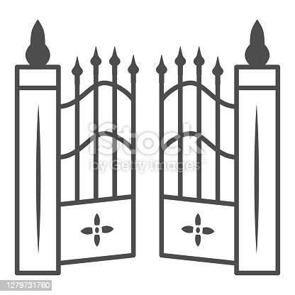 istock Gate to cemetery thin line icon, Halloween concept, cemetery sign on white background, graveyard fence icon in outline style for mobile concept and web design. Vector graphics. 1279731760