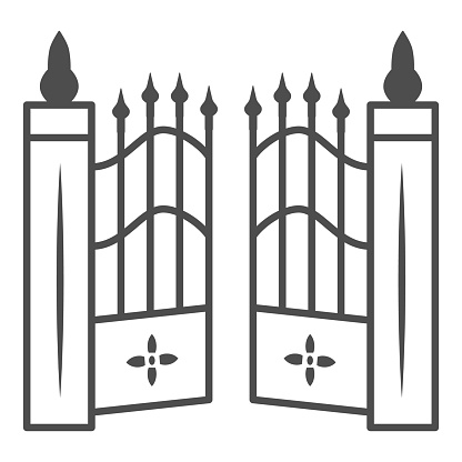 Gate to cemetery thin line icon, Halloween concept, cemetery sign on white background, graveyard fence icon in outline style for mobile concept and web design. Vector graphics