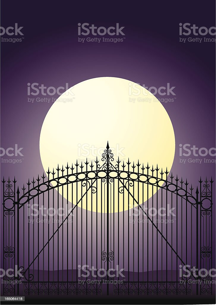 Gate with Full Moon - Sleepy Hollow Cemetery royalty-free stock vector art