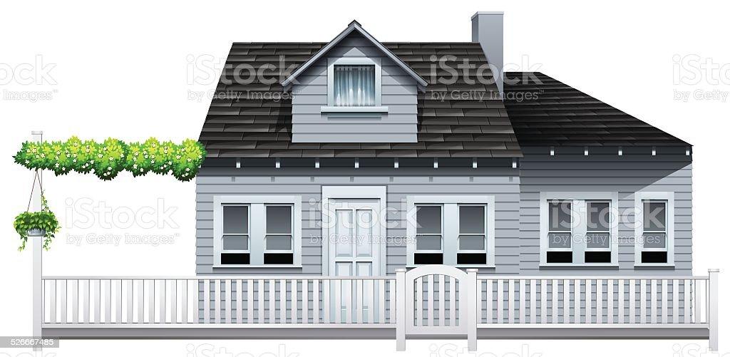 Gated house vector art illustration