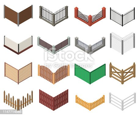 Gates and Fences Sign 3d Icon Set Isometric View Include of Metal, Wooden and Brick Border. Vector illustration of Icons