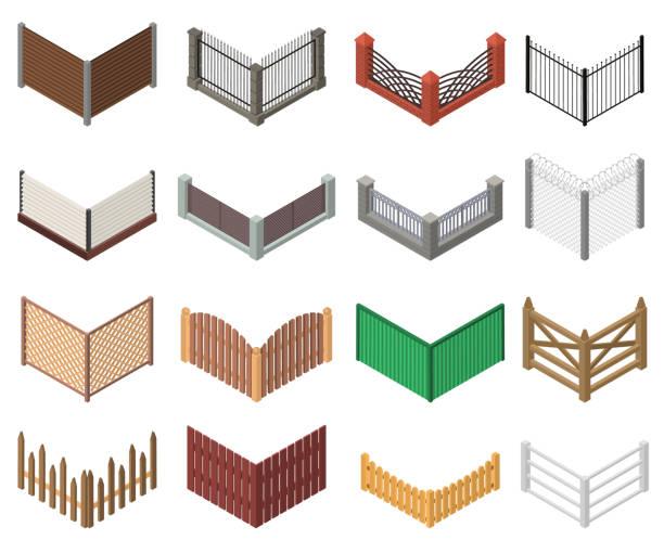 stockillustraties, clipart, cartoons en iconen met gates en hekken teken 3d icon set isometrische weergave. vector - fence