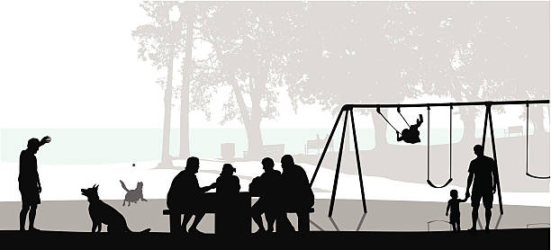 Gathering Outdoors A vector silhouette illustration of people enjoying the park near a beach.  A family gathers at a pinic table, a man plays fetch with his dog, and a father and child walk hand in hand away from a swingset. lakeshore stock illustrations