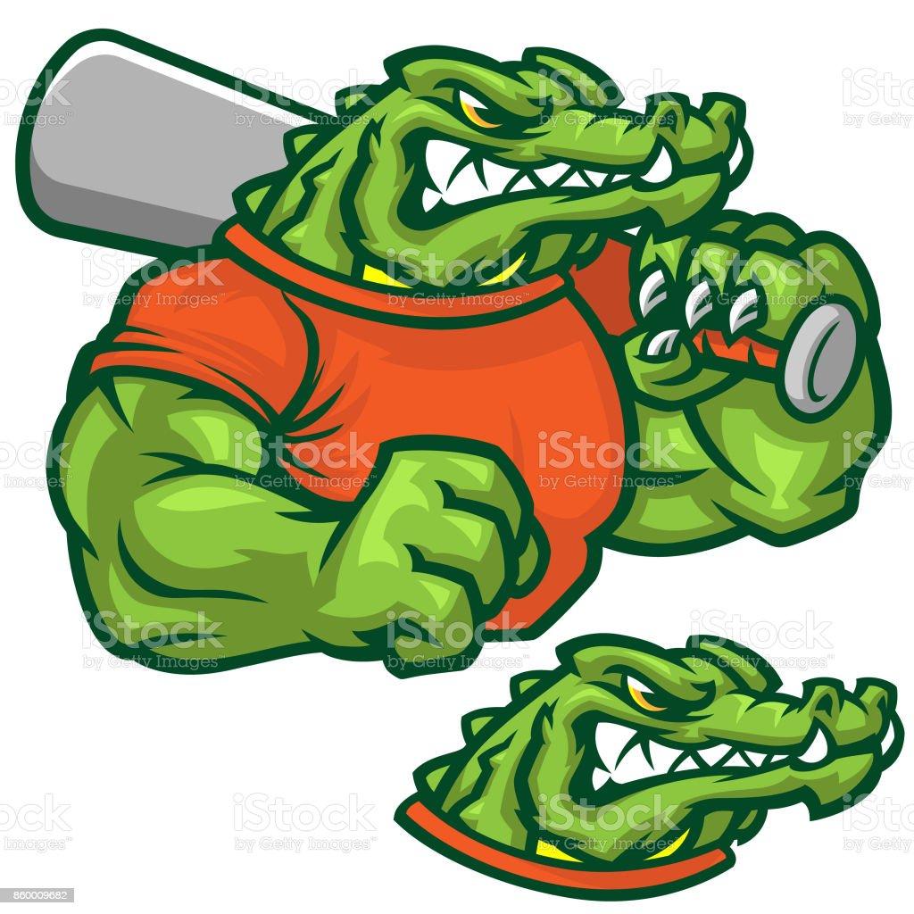 Gator baseball pack vector art illustration