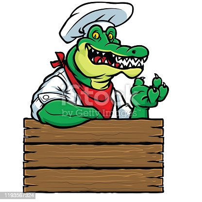 A Gator chef sign to be used for your next restaurant design.