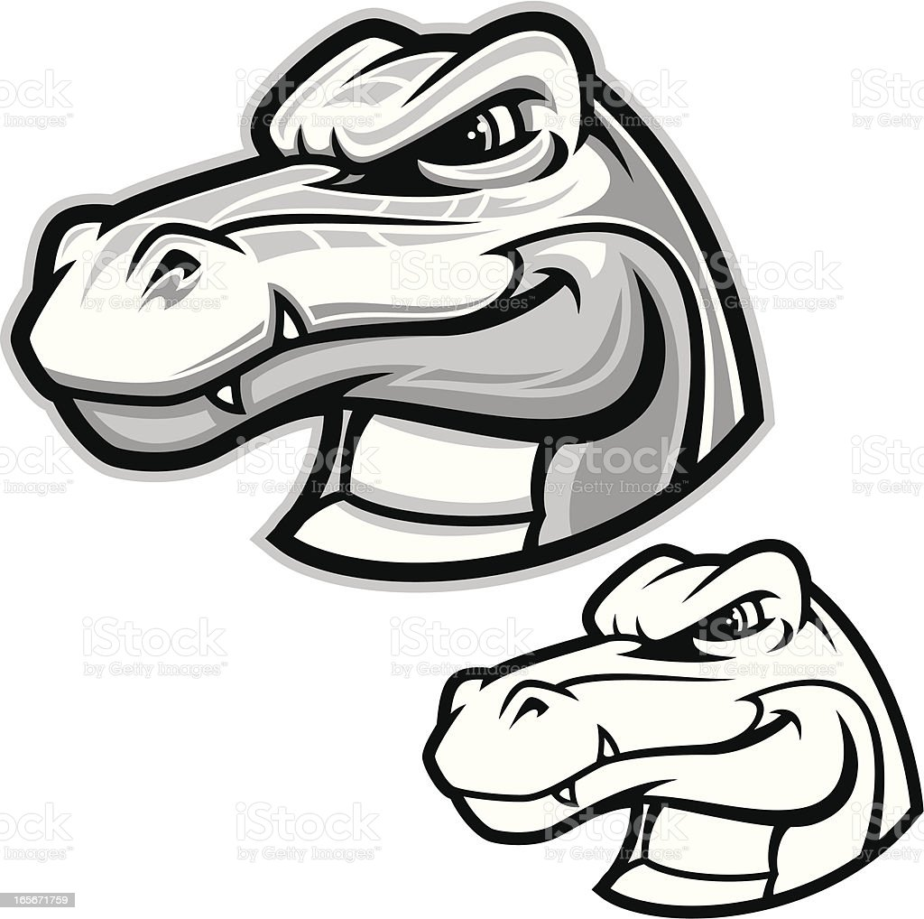 Gator Head III B&W vector art illustration