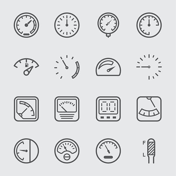 ilustraciones, imágenes clip art, dibujos animados e iconos de stock de gauge and meter line icon - amperímetro