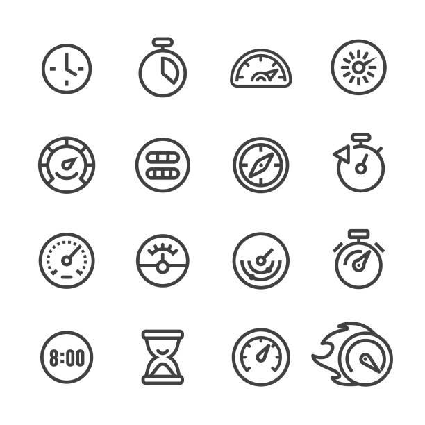 ilustraciones, imágenes clip art, dibujos animados e iconos de stock de calibre y velocímetro iconos - serie - amperímetro