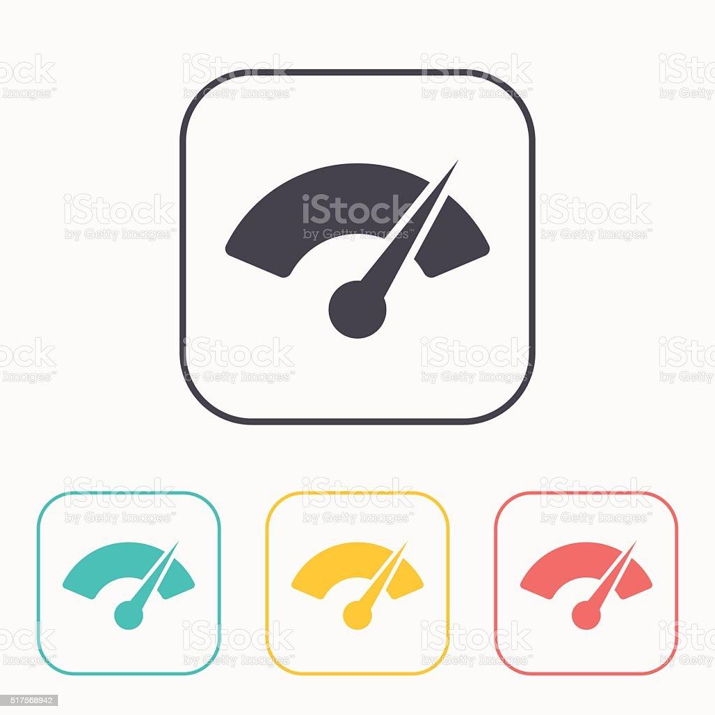 Gauge color icon set vector art illustration