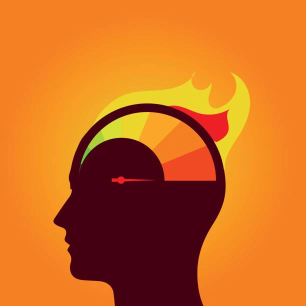 Gauge in human head vector art illustration