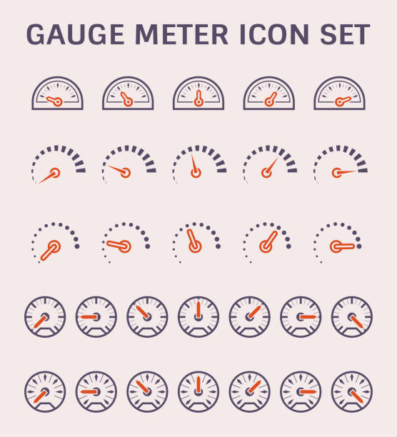 illustrazioni stock, clip art, cartoni animati e icone di tendenza di gauge meter icon - misuratore