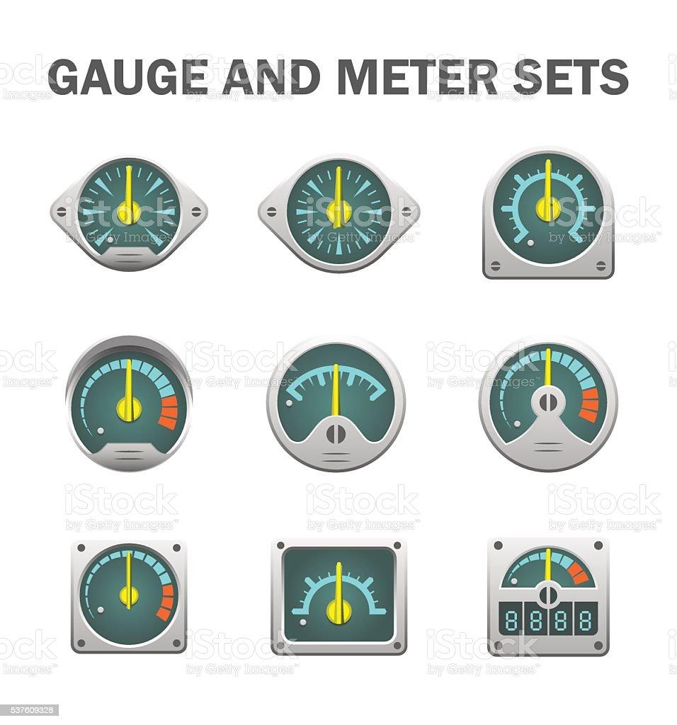 Gauge meter sets vector art illustration